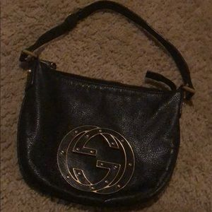 GUCCI Soho Blondie Small Black Leather Gold Bag